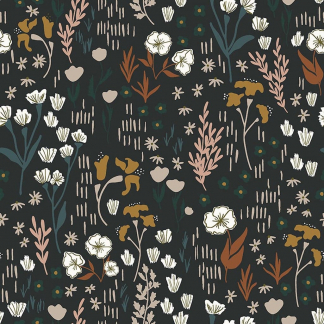 "Cotton+Steel Fabrics - Tissu Popeline de Viscose Imprimé Fleurs de Champs ""Dear Isla"" sur le Fond Noir"
