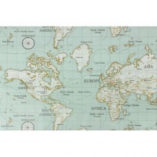 Fryett's - Tissu Toile de Coton Enduit Imprimé Carte du Monde