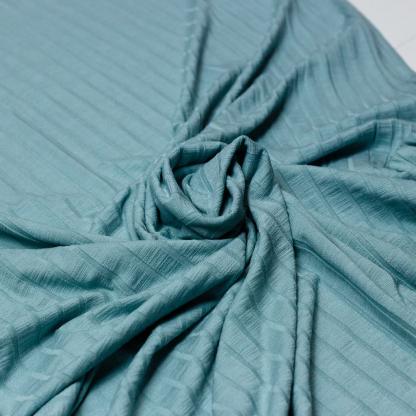 Sélection Coup de coudre - Tissu Jersey de Viscose aux Rayures en Relief Uni Couleur Vert de Mer