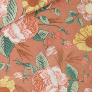 """See You at Six - Tissu Double Gaze de Coton Imprimé Fleurs """"Bloom Garden"""" sur le Fond Café Crème"""