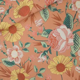 """See You at Six - Tissu Jersey Sweat Léger de Coton Imprimé Fleurs """"Bloom Garden"""" sur le Fond Café Crème"""