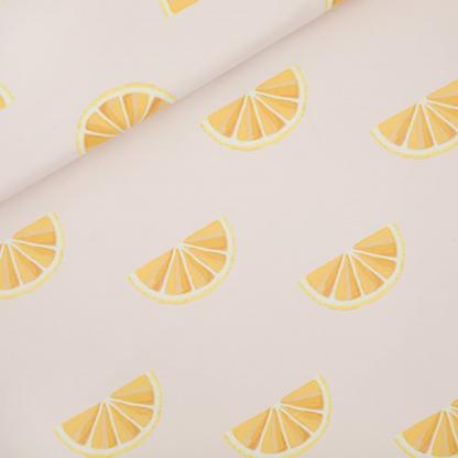 See You at Six - Tissu Jersey Sweat Léger de Coton Imprimé Oranges sur le Fond Rose Primevère