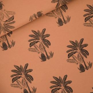"""See You at Six - Tissu Jersey Sweat Léger de Coton Imprimé Palmiers """"Palm Trees"""" sur le Fond Brun Pecan"""