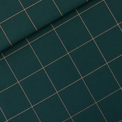 """See You at Six - Toile Gabardine de Coton Imprimé Carrés """"Thin Grid"""" sur le Fond Vert"""