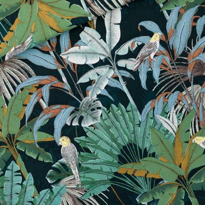 """See You at Six - Toile Gabardine de Coton Imprimé Perroquets """"Jungle"""" sur le Fond Vert"""