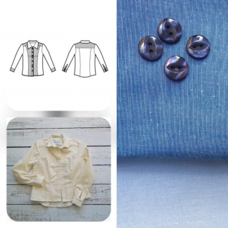 Christine Charles – Kit Couture Chemise Adelise Couleur Bleu Ciel et Bleu Cobalt