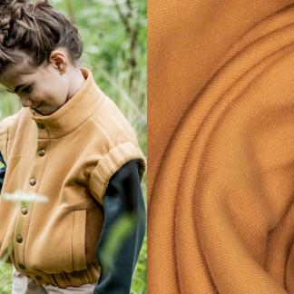 Fibre Mood - Tissu Jersey Sweat de Coton Gratté Uni Couleur Noisette