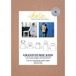 """Ikatee – Patron Enfant Gilet, Veste, Imperméable ou Peignoir Mixte """"Grande Ourse"""" de 3 à 12 ans"""