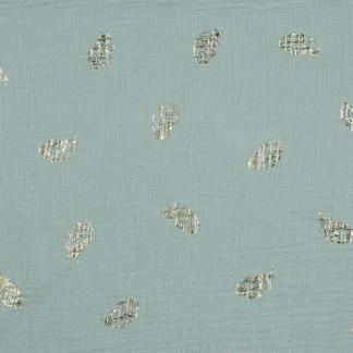 Poppy - Tissu Double Gaze de Coton Imprimé Plumes Dorés sur le Fond Vert Gris