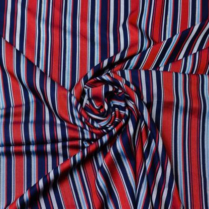 Sélection Coup de coudre - Tissu Twill Sergé de Viscose aux Rayures Tissés sur le Fond Rouge
