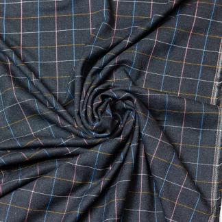 Selection Coup de coudre - Tissu Flanelle de Viscose Melangé aux Carreaux Multicolores sur le Fond Gris Anthracite