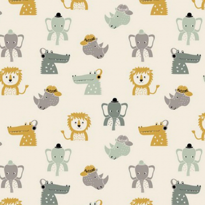 """Sélection Coup de coudre - Tissu Jersey de Coton Bio Imprimé Animaux de la Savane """"Awesome Animals"""" sur le Fond Ecru"""