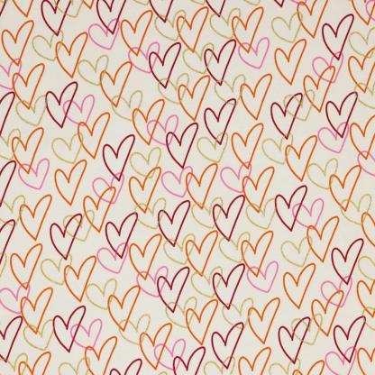 """Sélection Coup de coudre - Tissu Jersey de Coton Imprimé Coeurs """"Glitter Hearts"""" sur le Fond Ecru"""