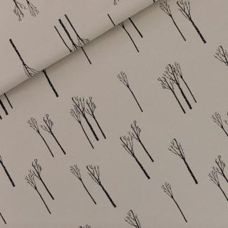 """See You at Six - Tissu Jersey Sweat Léger de Coton Imprimé Bouleaux """"Birches"""" sur le Fond Gris Chateau"""