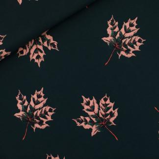 """See You at Six - Tissu Jersey Sweat Léger de Coton Imprimé Feuilles """"Maple Leaves"""" sur le Fond Vert"""