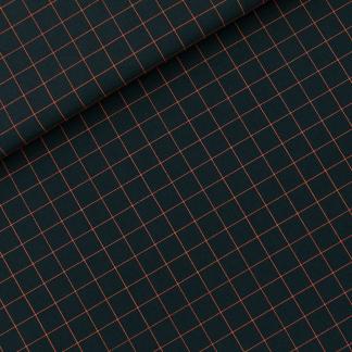 """See You at Six - Toile Gabardine de Coton Imprimé Carreaux """"Thin Grid"""" sur le Fond Vert Foncé"""